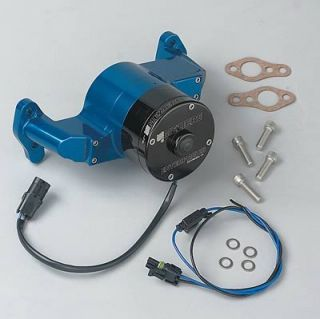 Meziere Water Pump Electric 35 GPM Billet Aluminum Blue Anodized SBC