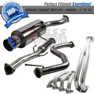 92 00 Honda Civic 2 4D Catback Exhaust Muffler Header w Titanium Burnt