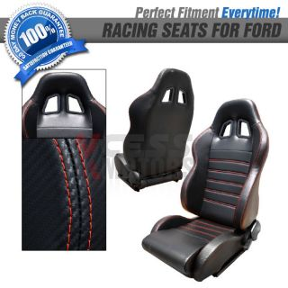 Pair of XL Carbon Fiber Black Racing Seats w Red Stitch Ford