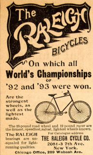 Raleigh Bicycles Cycle Company New York Bike Wheels Chicago Victorian