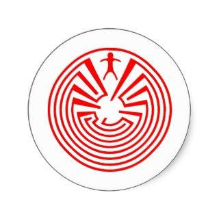 Native American Indian Maze Rosette Round Stickers