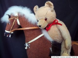 Rocking Horse German Teddy Bear 1930s Pull Horse on Wheels