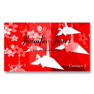 Elegant Red & White Origami Business Card