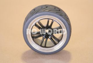 Tires Black Chrome Lip Wheels Rims Package Kyosho Tamiya HPI