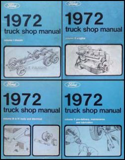 1972 Ford Pickup Truck Van Bronco Shop Manual Set 72