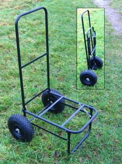 BISON FOLDING FISHING SEAT BOX TROLLEY WITH PNUEMATIC TYRES Enlarged