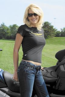 Honda Collection Ladies Gold Wing T Shirt Black SM Small Women
