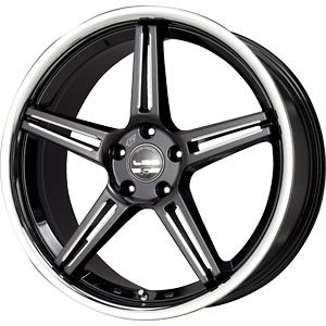 114.3 LX52 Black CNC Macined with Stainless Chrome Lip Wheels/Rims