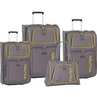 Nautica Steward 4 Piece Luggage Set Charcoal Yellow