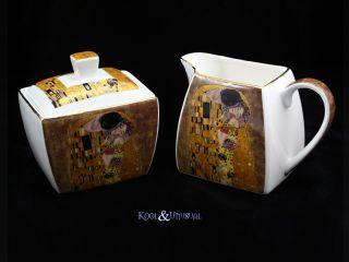 Elegant Gilded The Kiss Milk Jug and Sugar Bowl Set Gustav Klimt Art