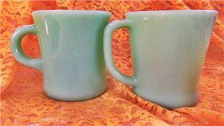 Two Vintage Restaurant Ware Fire King Jadeite Jadite Coffee Mugs One D