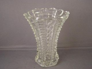 EAPG Bubble and Bar Pattern 2 Handle Bowl and Vase