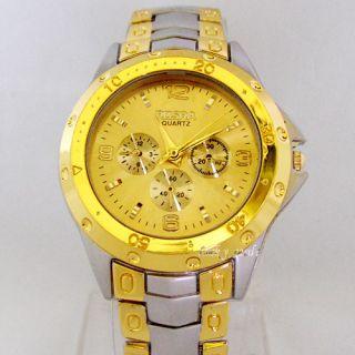 New Trendy Luxury Mens Designer Gold Dial Quartz Watch