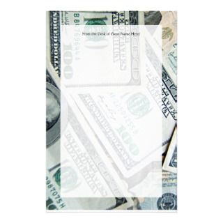 Cash Money US Dollar Bills Piled Up Stationery Design