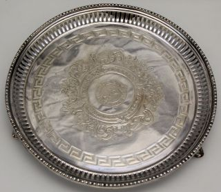 290 Antique Sheffield Silver Over Copper Serving Tray Ornate Design