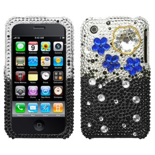 Apple iPhone 3G 3GS Rhinestone Hard Case Silver Black Blue Cloudy