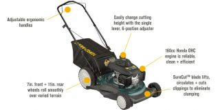 Yard Man 3 in 1 Push Mower 160cc Honda Engine 21in Steel Deck 11A
