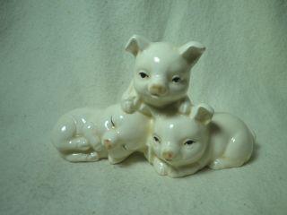 Vintage Papel Playful Piglets Porcelain Figurine Pig Three Little Pigs