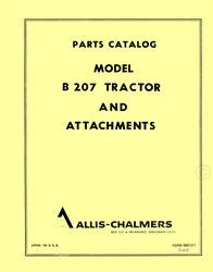 Allis Chalmers B 207 B207 Tractor and Attachments Parts Catalog Manual