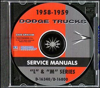 1958 1959 Dodge Truck CD Shop Manual Pickup Panel Power Wagon Repair