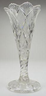 Duncan Miller Panelled Diamond Quartered Block Pattern Vase 12 5 Tall