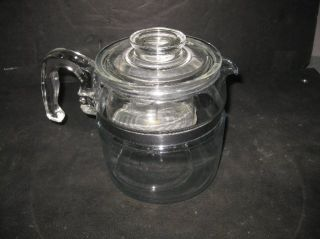 Vintage Pyrex Stovetop Flameware Glass 6 Cup Percolator Coffee Pot