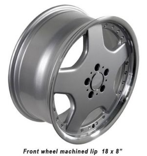 17 Silver AMG Wheels Machined Lip Set of 4 Rims Fits Mercedes Benz