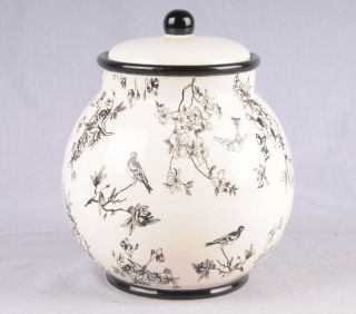 Nonnis Biscotti Black White Floral Ceramic Cookie Jar
