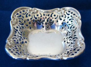 Antique Pierced Solid Sterling Silver Bon Bowl Nut Dish Candy Bowl Pin