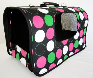 18L Pet Carrier Dog Cat Travel Bag Case Pink Polk Dots
