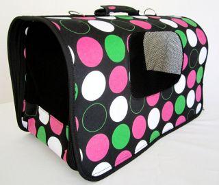 18L Pet Carrier Dog Cat Travel Bag Case Pink Polk Dots