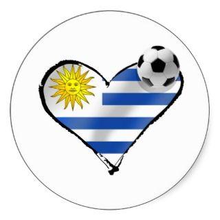 Uruguay flag soccer futbol te amo gifts round sticker