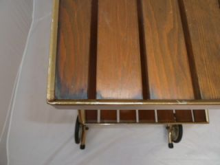 Vtg Mid Century Retro RID JID Folding Serving Bar Tea Cart 2 Teak Slat