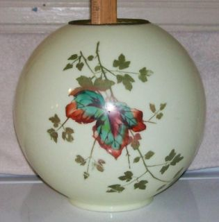 Custard Glass 4 Fitter Banquet Parlor GWTW Oil Lamp Ball Shade Red