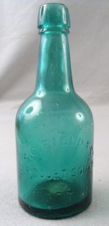Antique S C Field & Co. Boston Blue/ Green Squat 1860s Blob Top Soda