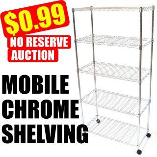 Shelving 247   Wire Metal Shelving Storage on Wheels x5 Tier Shelf