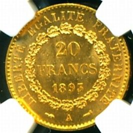 1893 French Angel Gold Coin 20 Francs NGC Certified Genuine Graded MS