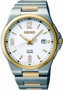 New Seiko Solar Quartz Two Tone Mens Watch SNE210