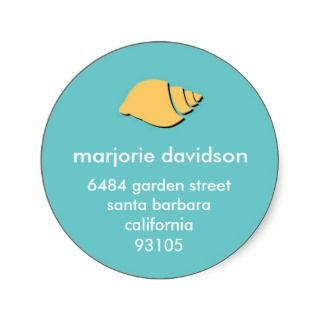 Beach seashell address labels yellow blue sticker