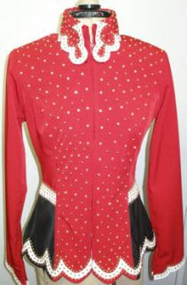 Custom Horse Show Red Black Showmanship Rail Jacket Small Leather