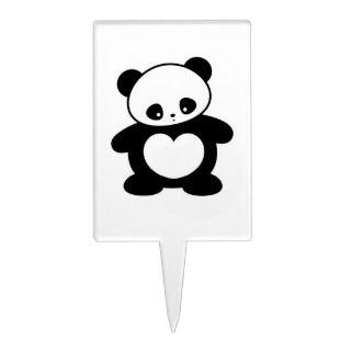 Kawaii panda rectangle cake pick