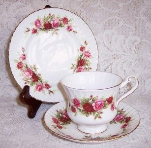Vintage Paragon English Rose China Tea Trio Cup Saucer Plate 3