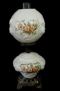 Old 3 PC White Glass Table Lamp w Pink Green Handpainted Flowers Works
