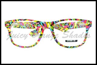 80s OLD SCHOOL Sunglasses or CLEAR Lens Eyeglasses POP MIX Colorful