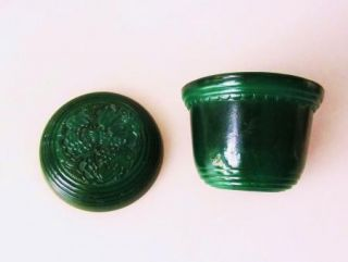 Art Deco Czech Green Malachite Glass Powder Jar
