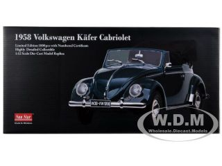 1958 Volkswagen Beetle Kafer Cabriolet Blue 1 12 by Sunstar 5213
