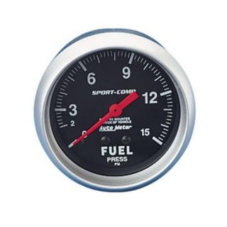 New Auto Meter 2 5 8 Sport Comp Fuel Pressure Gauge Black 0 15 PSI