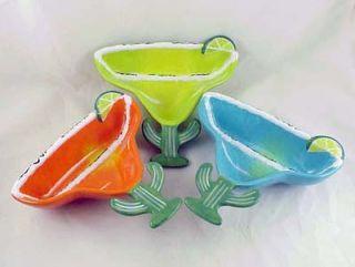 Make Margaritas DIP Bowls Turquoise Green Orange Clay Art Ceramic New