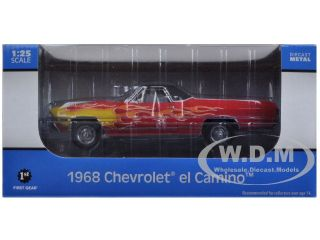 1968 Chevrolet El Camino Red with Flames 1 25 Diecast Model First Gear