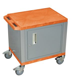 Wilson Tuffy Cart Stainless Steel Casters and Locking Cabinet Orange